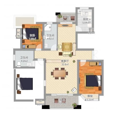 国际花都丹若苑2室2厅2卫1厨112.00㎡户型图
