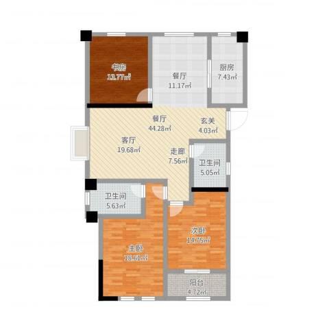 伟业迎春世家3室1厅2卫1厨143.00㎡户型图