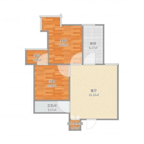 小店区政府宿舍2室1厅1卫1厨76.00㎡户型图