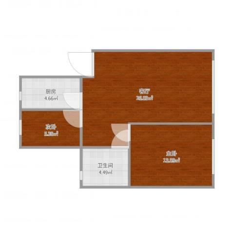 山鑫阳光城2室1厅1卫1厨67.00㎡户型图