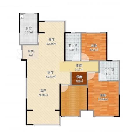 观湖壹号2室1厅2卫1厨130.00㎡户型图