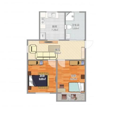 莘中新村46--2112室1厅1卫1厨63.00㎡户型图