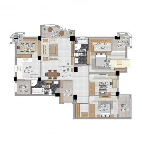 黄山豪庭3室1厅2卫1厨206.00㎡户型图