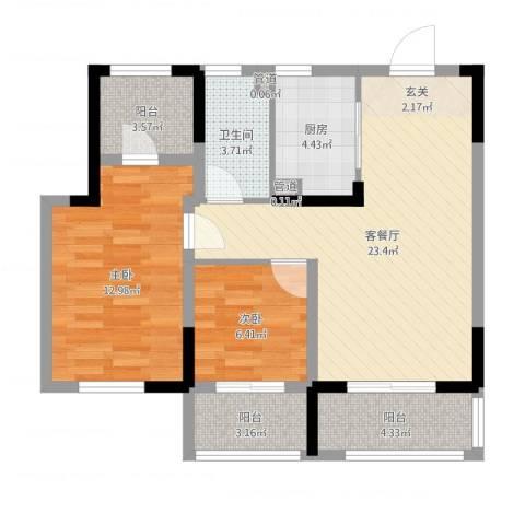昆山观湖壹号2室2厅1卫1厨78.00㎡户型图