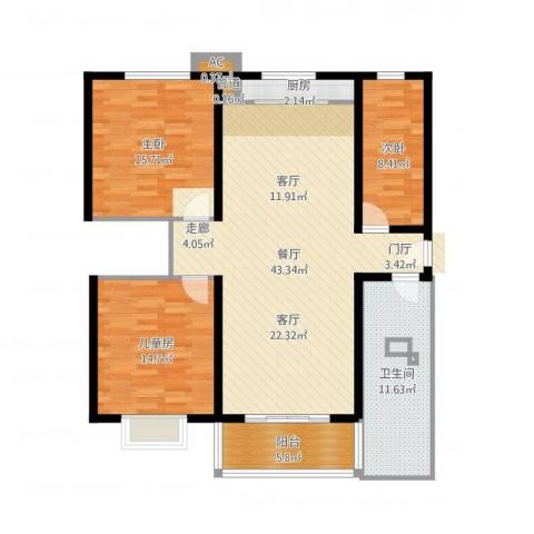 大顺花园3室1厅1卫1厨128.00㎡户型图