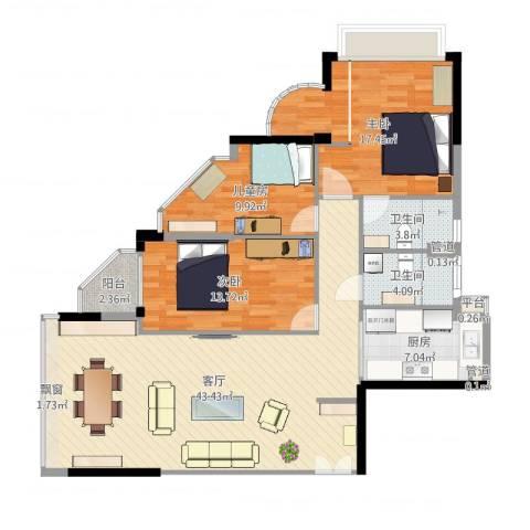 碧水明筑3室1厅2卫1厨128.00㎡户型图