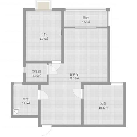 凤凰山庄2室2厅1卫1厨78.00㎡户型图