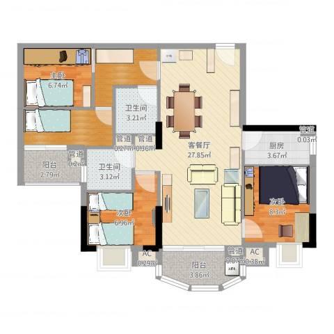 富邦名寓3室2厅2卫1厨97.00㎡户型图