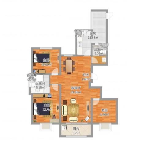 万都城3室2厅2卫1厨116.00㎡户型图