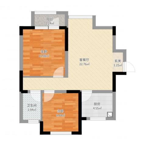 荣盛楠湖郦舍2室2厅1卫1厨66.00㎡户型图