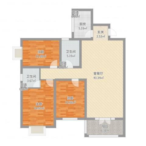 府西国际公寓3室2厅2卫1厨102.53㎡户型图