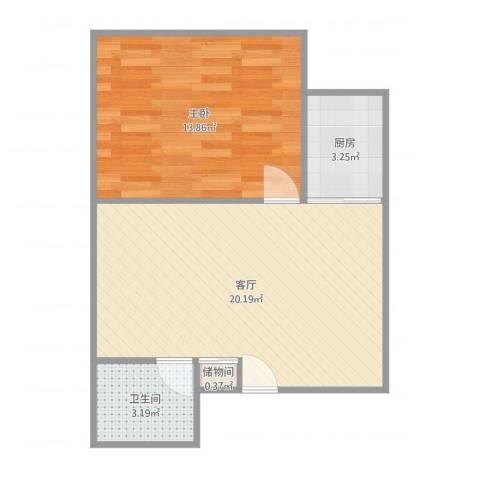青年居易1室1厅1卫1厨55.00㎡户型图