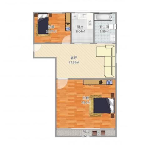 莲溪六村2室1厅1卫1厨103.00㎡户型图