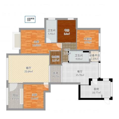 联城水岸香榭4室2厅2卫1厨164.00㎡户型图