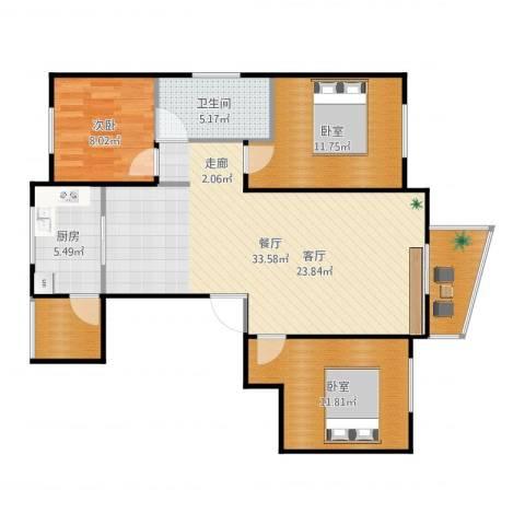东辰清风港1室1厅3卫1厨103.00㎡户型图