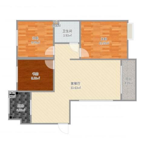 绿地公馆壹号3室3室2厅1卫1厨95.00㎡户型图