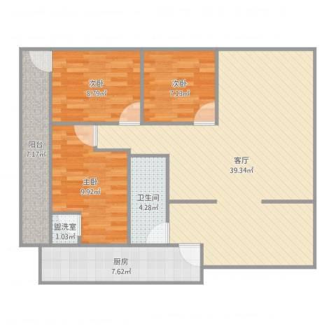 碧云天3室3厅1卫1厨107.00㎡户型图