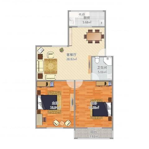 普利南辛花园7号2单元2022室2厅1卫1厨101.00㎡户型图