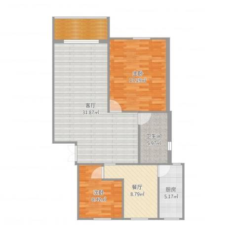 宝城一村2室2厅1卫1厨103.00㎡户型图