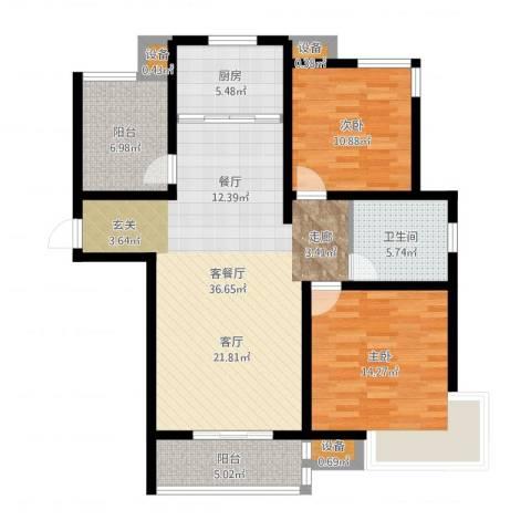 华园星城2室2厅1卫1厨108.00㎡户型图