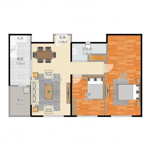 天润・香墅湾1号2室1厅1卫1厨93.00㎡户型图