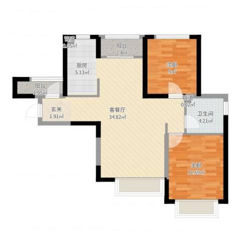 旺城温莎郡2室2厅2卫1厨80.00㎡户型图