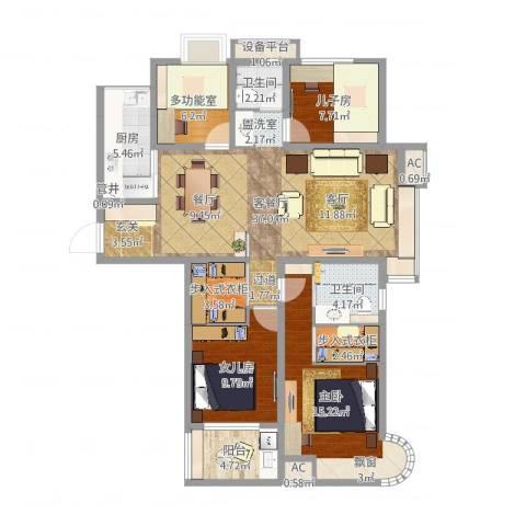 紫晶广场1室2厅2卫1厨126.00㎡户型图
