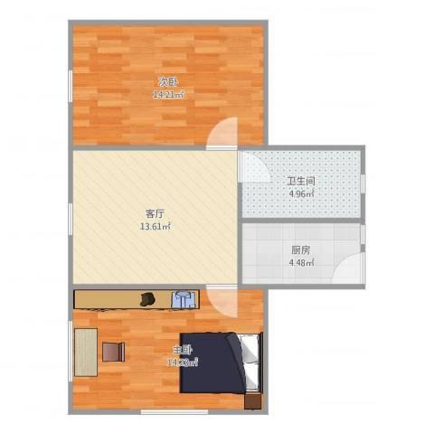 制造局路公房2室1厅1卫1厨64.00㎡户型图