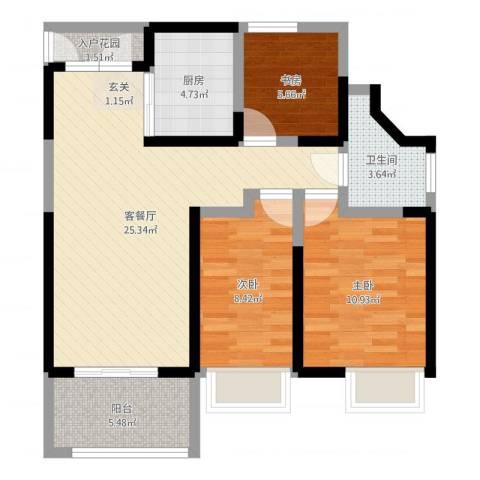 万科公园大道3室2厅1卫1厨82.00㎡户型图