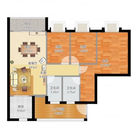 御琴华府3室2厅2卫1厨99.00㎡户型图