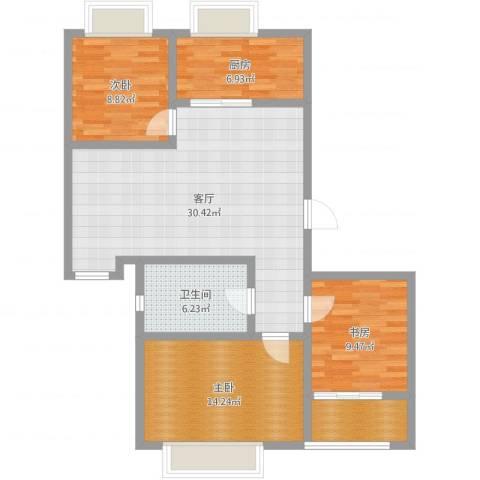 阿尔卡迪亚文承苑3室1厅1卫1厨100.00㎡户型图