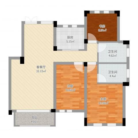 九江国际湾八里湖特色风情小镇3室2厅2卫1厨100.00㎡户型图