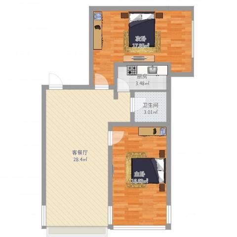 戴河新城2室2厅1卫1厨87.00㎡户型图