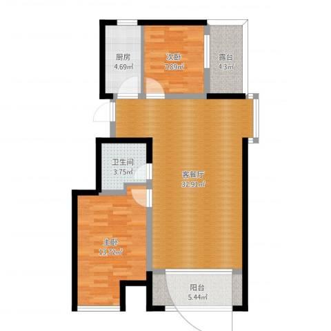 万达广场2室2厅1卫1厨91.00㎡户型图