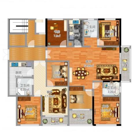 宝带小区5室2厅3卫2厨200.00㎡户型图