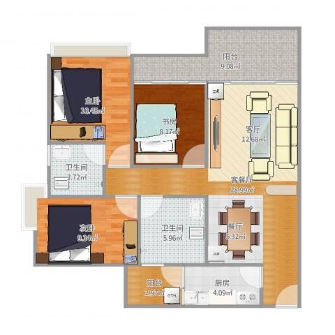 盈悦豪庭3室2厅2卫1厨103.00㎡户型图