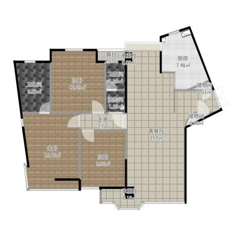 万象新天3室2厅2卫1厨119.00㎡户型图