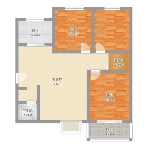 侯马时代广场2室2厅1卫1厨88.00㎡户型图