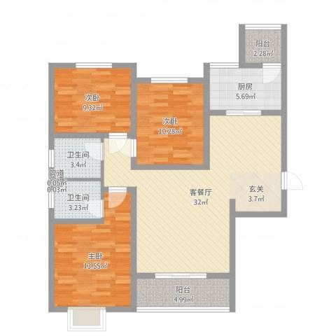 侯马时代广场3室2厅2卫1厨106.00㎡户型图