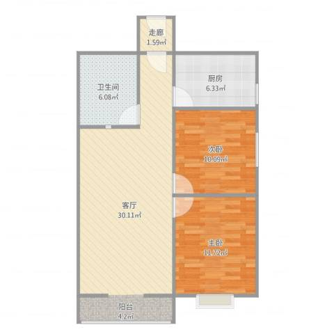 侯马时代广场2室1厅1卫1厨82.00㎡户型图