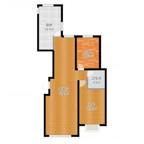 左岸慧晶峰境2室2厅1卫1厨109.00㎡户型图