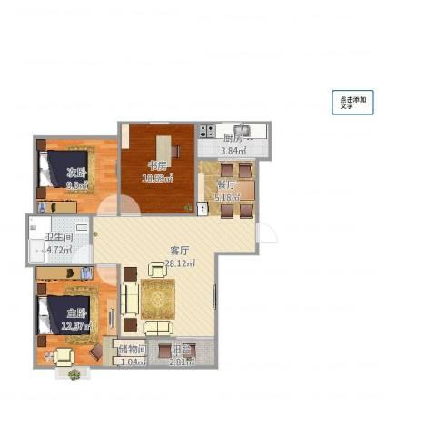 开元观唐3室1厅1卫1厨92.00㎡户型图