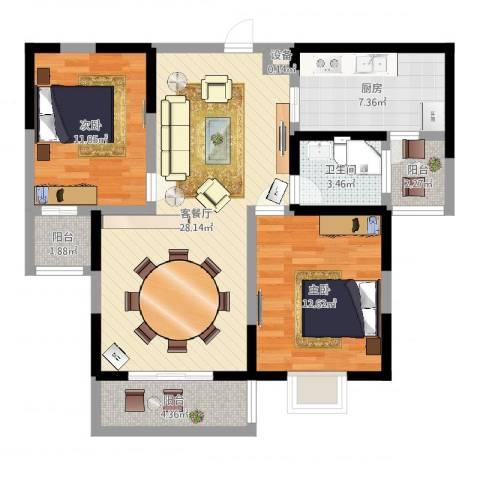 金和家园2室2厅1卫1厨89.00㎡户型图