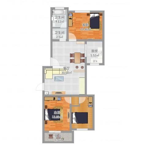 颛溪五村2室1厅2卫1厨107.00㎡户型图