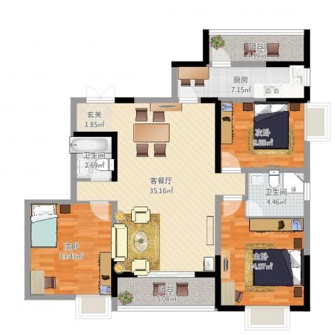 御景水城3室2厅2卫1厨121.00㎡户型图