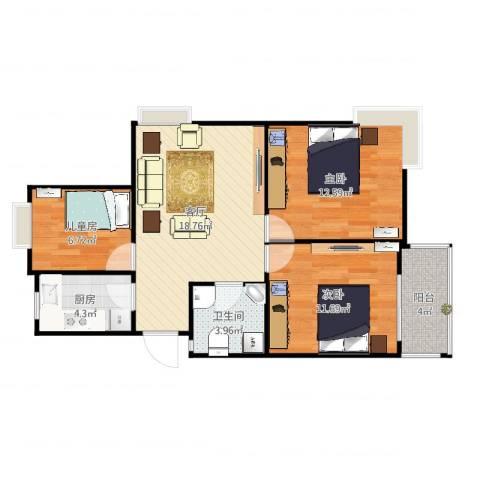 三和嘉园3室1厅1卫1厨78.00㎡户型图