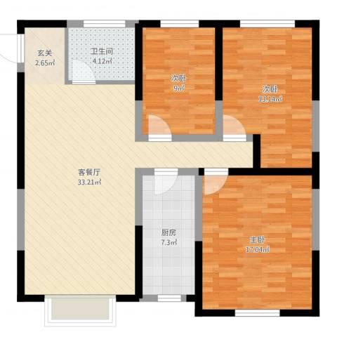 鼎新花园3室2厅1卫1厨105.00㎡户型图