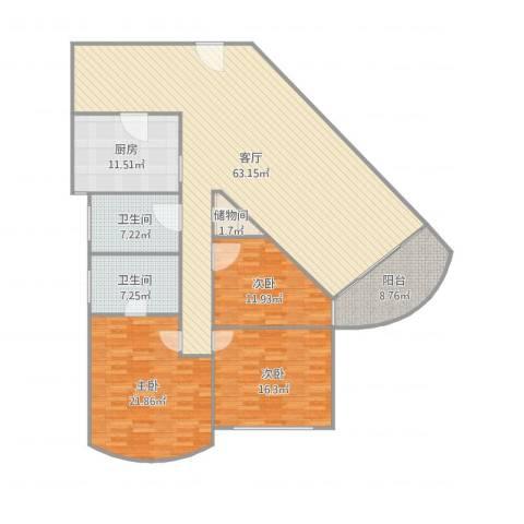御景豪庭3室1厅2卫1厨199.00㎡户型图