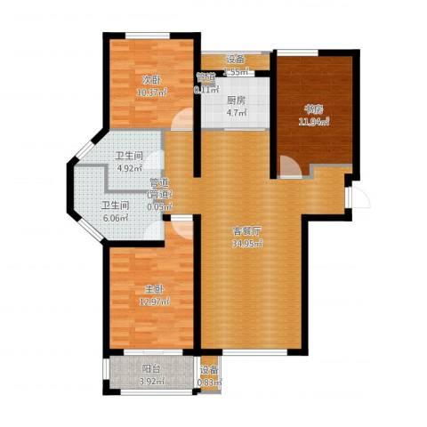 金屋秦皇半岛3室2厅4卫4厨116.00㎡户型图
