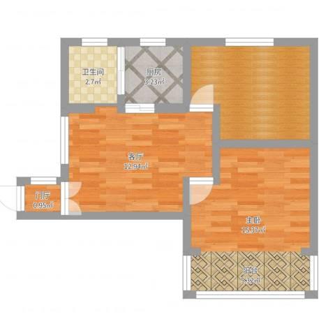 曙光南桥小区1室1厅2卫1厨56.00㎡户型图